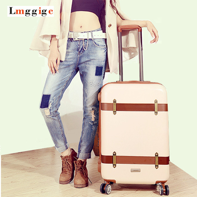 """New 20""""24""""inch Vintage Luggage,password lock Suitcase,Universal wheels Trolley,PC+ABS hard shell travel bag,colorful Case box"""
