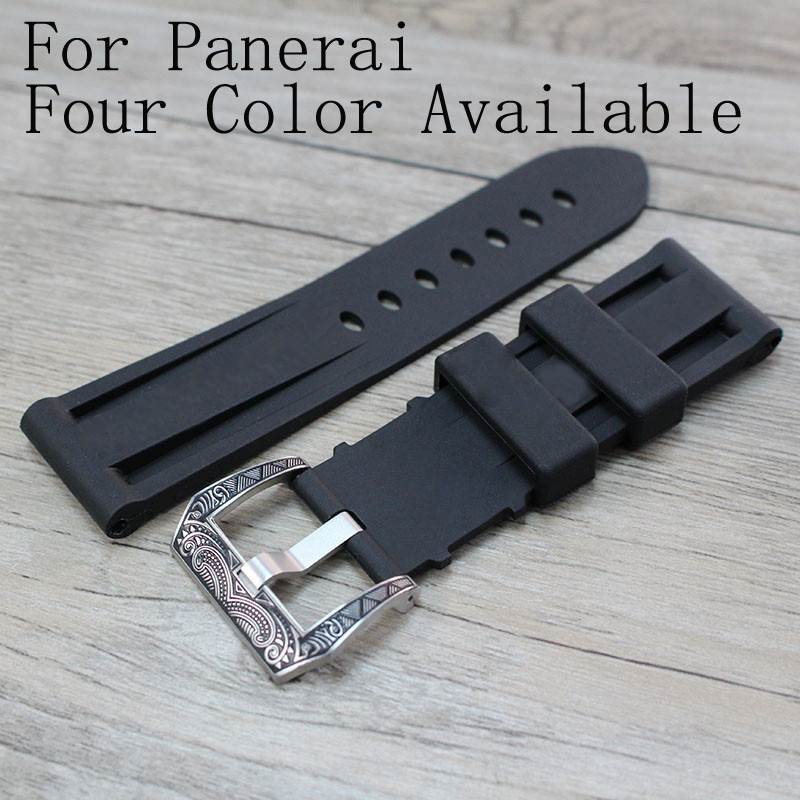 NEW 24mm Black Red Orange Blue Waterproof Silicone Rubber Strap,Watchband For PAM With Special Buckle And Logo,Free Shiping постельное белье сирень постельное белье евро кпб рай
