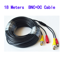 BNC Video Power Siamese Cable 65ft 18m For Analog AHD CVI CCTV Surveillance Camera DVR Kit