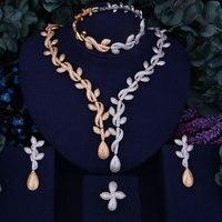 GODKI Blatt Luxus 2 Ton Gold Silber Gemischte Frauen Nigerianischen Hochzeit Naija Braut Zirkonia Halskette Dubai 4 STÜCKE Schmuck Set