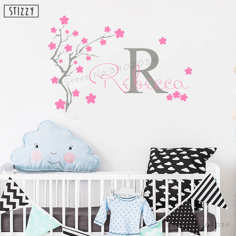 Personalise Girl Nursery Bedroom Wall Sticker Pink Flower Decal Decor