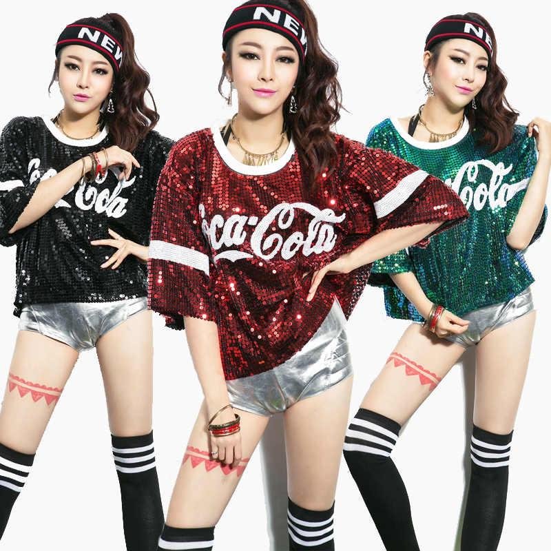 Nieuwe mode, vrouwen, glans glitter brief pailletten vrouwelijke jazz dance hip hop kostuum ds vest jas