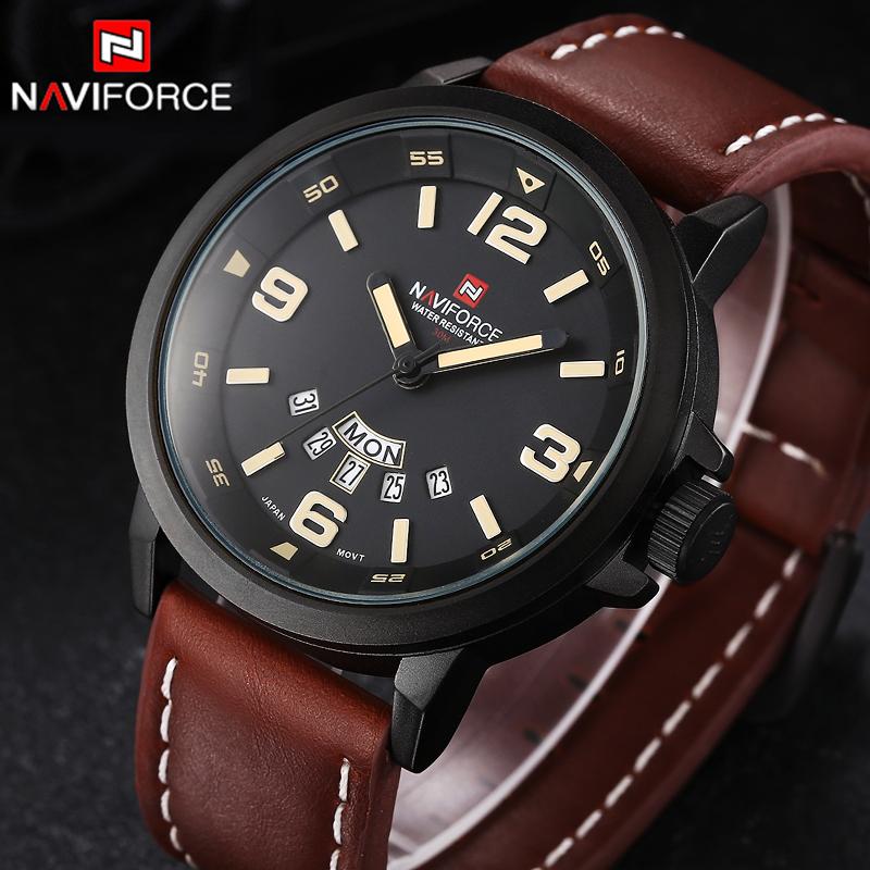 Prix pour Marque NAVIFORCE Montres hommes Casual Quartz reloj En Cuir Sport montre-bracelet Armée Militaire de Plongée Hommes Montres relogio masculino