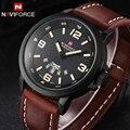 NAVIFORCE marca Relojes hombres reloj de Cuarzo Ocasional de Cuero Deportes reloj de pulsera de Buceo Militar hombres Relojes relogio masculino