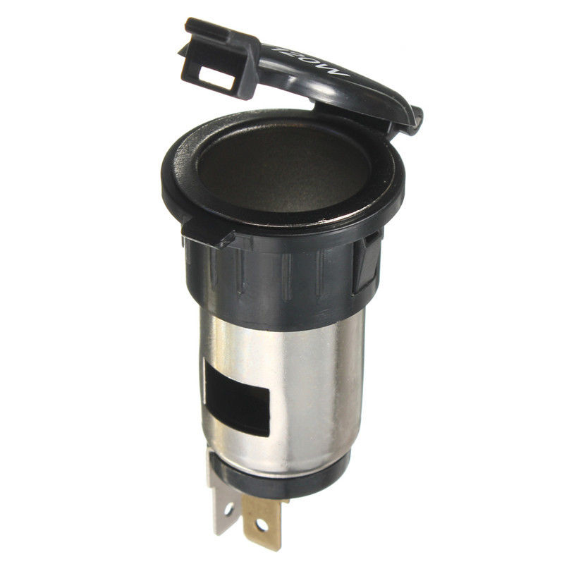 12V Black Plastic Motorcycle / Boat / Car / Camper Cigarette Lighter Socket Power Plug Replacement Parts