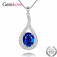 Gemlove Topaz Pendant Necklace 925 Sterling Silver Jewelry Necklaces & Pendants Colar Feminino with Chain and Gift Box 40% FN003