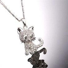 Best Cheap Cute Rhinestone Cat Necklace For Women