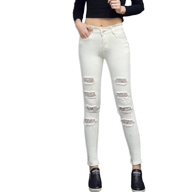 2017 new Summer Ripped sexy Denim Women Skinny Jeans Female Holes On Legs  Pants For Girls