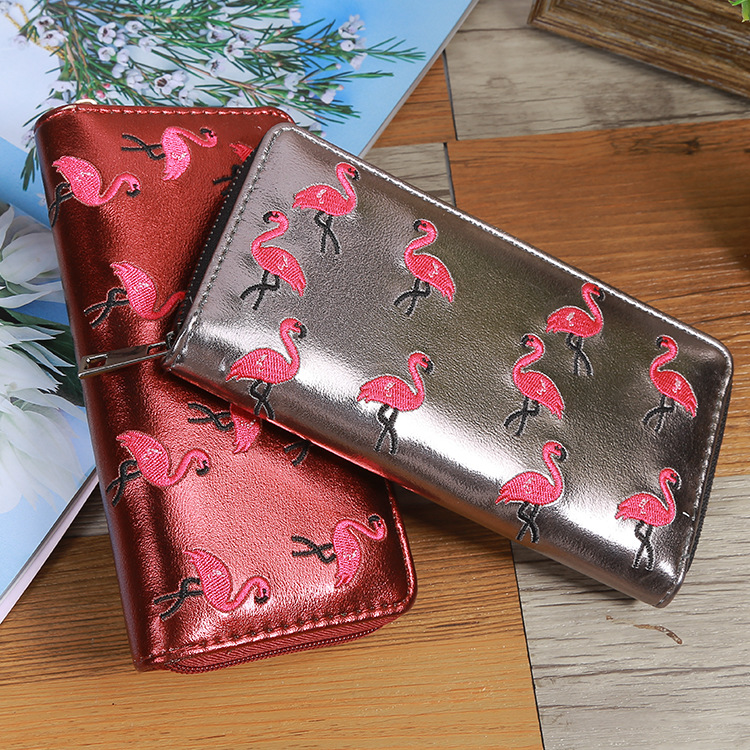 BONAMIE Purse Women Black Long Flamingo Wallet Girl Solid Embroidery Wallet Female Purse Coin Credit Card Holder Lady Clutch Bag