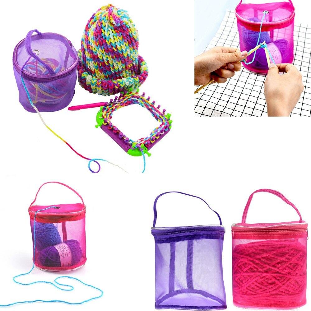 Creativo 1 Pz Colorful Nuovo Round Mesh Bag Portatile Leggero Filato Filo Crochet Dell'organizzatore Di Immagazzinaggio Tote Bag Knitting Strumento Materiali Accuratamente Selezionati