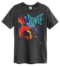 лучшая цена David Bowie T Shirt Amplified Official Let's Dance Stevie Ray Vaughan Music Men'S T-Shirts Short Sleeve O-Neck Cotton