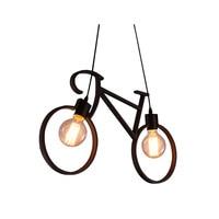 Vintage Iron Bicycle Shape Creative Pendant Lamp E27 Lamp Holder 110 240V Foyer/Coffee House/Dining Hall Lighting(SD 61)