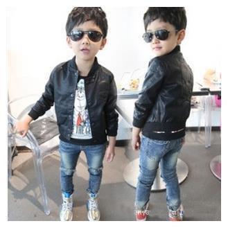 Nueva Primavera 2016 Bebé de La Manera Muchachos Del Cráneo de Impresión de Cuero de Imitación chaquetas de la Capa de Los Niños de Moda Otoño Motocicleta Tops Outwear 2-7Y niños