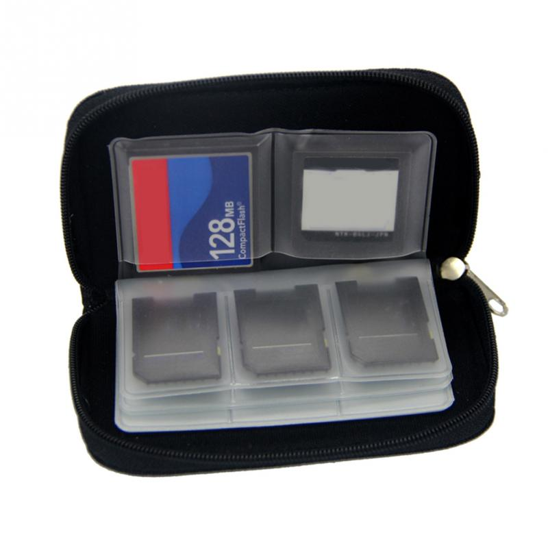 22 Slots Memory Card Storage Black Waterproof SD Cards Protecter Carrying Case  11.5*6*2cm