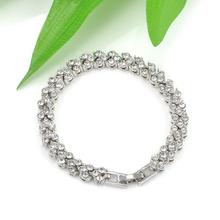 Fashion Women Roman Chain Clear Full Zircon Crystal Bangle Rhinestone Bracelet Valentine's Day Gift