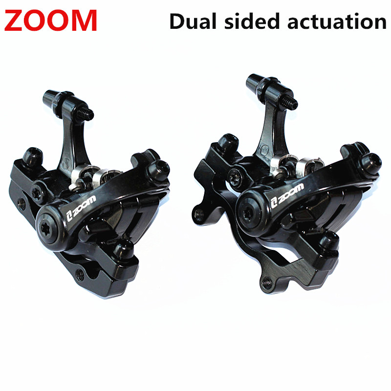 ZOOM Aluminum Alloy Bicycle Rear Disc Brake Black Mountain Road MTB Bike Mechanical Caliper Disc Brakes Cycling Double Brake aluminum mountain road bicycle disc brakes w rotors black front rear