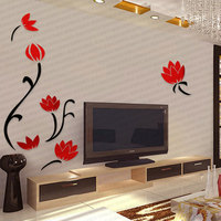 Large Wall Sticker Flower Mural 3D Wallpaper Poster Vintage Wall Decoration Crystal Acrylic Wall Stickers Home