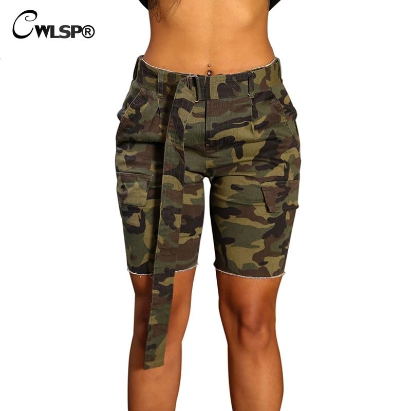 CWLSP 2018 summer mid Waist Cotton Camouflage Shorts Women's Summer Shorts Sexy Ripped Slim Hole Shorts Femme Hot Shorts QZ2855