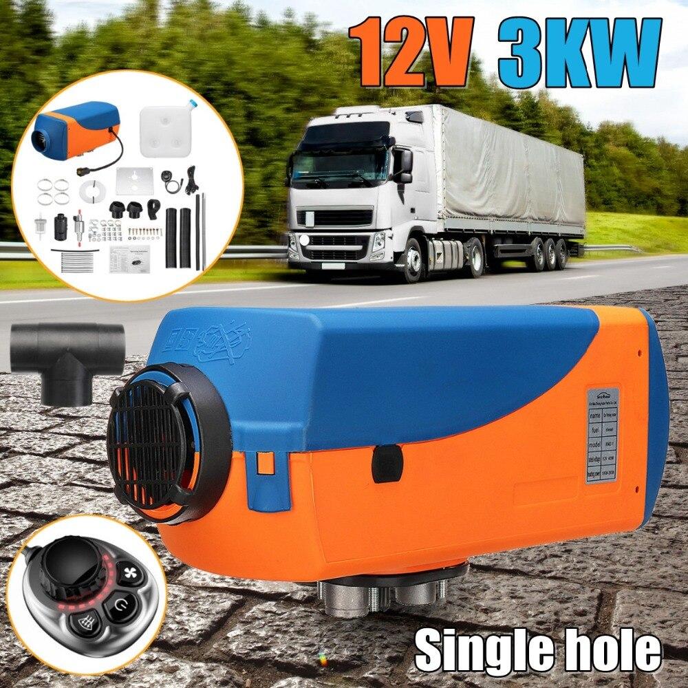 3KW 12 v Diesel Réchauffeur D'air Réservoir Unique trou/4 trous 2 xVent Conduit Thermostat Caravane Camping-Car Bouton Interrupteur chauffage de la voiture