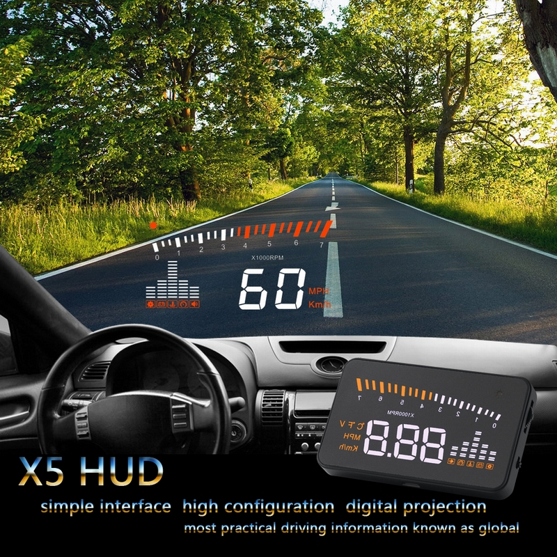 XYCING X5 Car HUD Head Up Display Vehicle OBD2 Car Speedometer Windshield Projector Driving Speed Alarm Voltage MPH KM/H Display 4f car obd2 ii manual switch hud km h mph overspeed warning windshield projector alarm system head up display