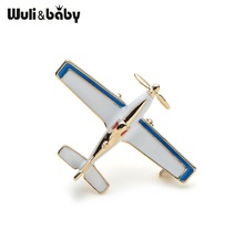 Wuli&baby Zinc Alloy Enamel Blue Propeller Fighter Airplane Brooch Pins Wedding Badge Gift Party Costumes Accessories