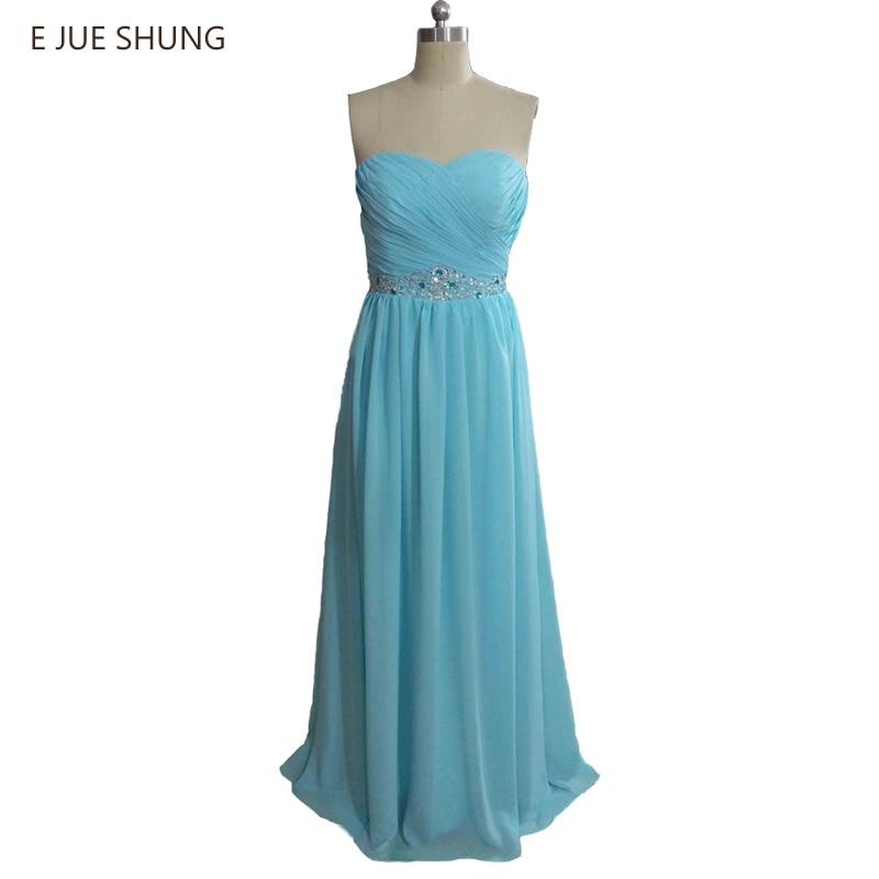 E JUE SHUNG Blue Chiffon   Bridesmaid     Dresses   Long 2017 A-line Sweetheart Cheap Wedding Party   Dresses   robe demoiselle d'honneur
