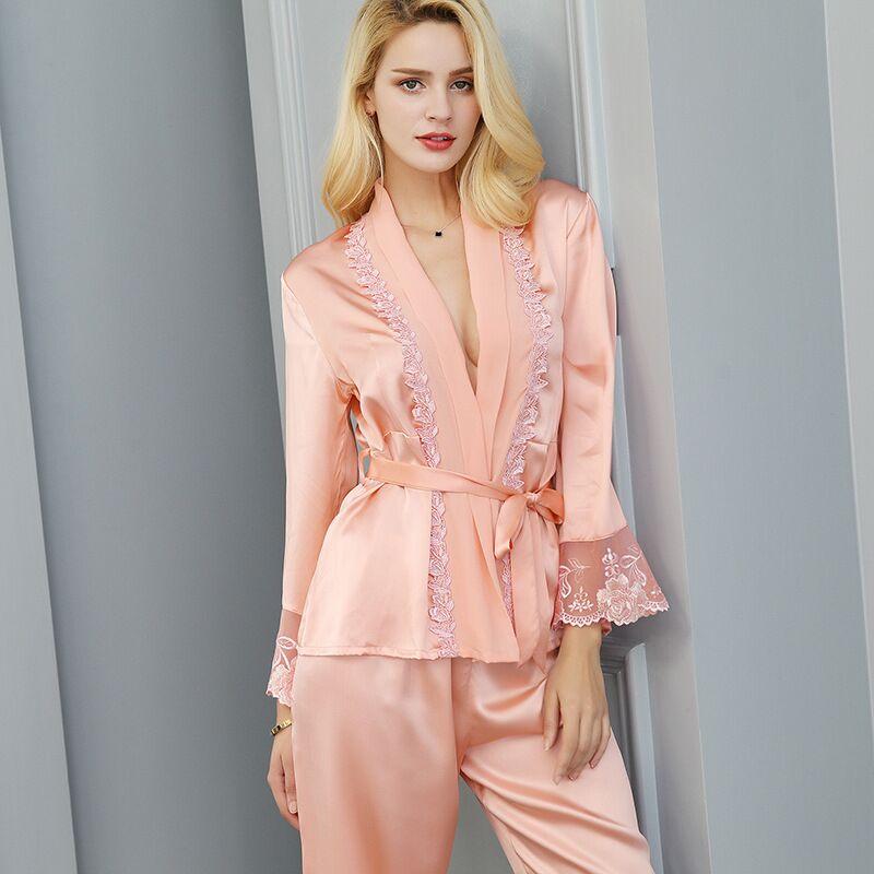 8ccc1e0105134 Luxe 100% réel soie Pyjamas femmes Sexy dentelle Kimono Robe & pantalon  deux pièces Pijamas