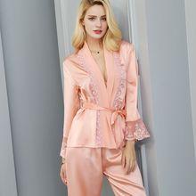 Luxury 100% Real Silk Pyjamas Women Sexy Lace Kimono Robe & Pants Two-pieces Pijamas Set Mulberry Sleepwear Pijama Mujer