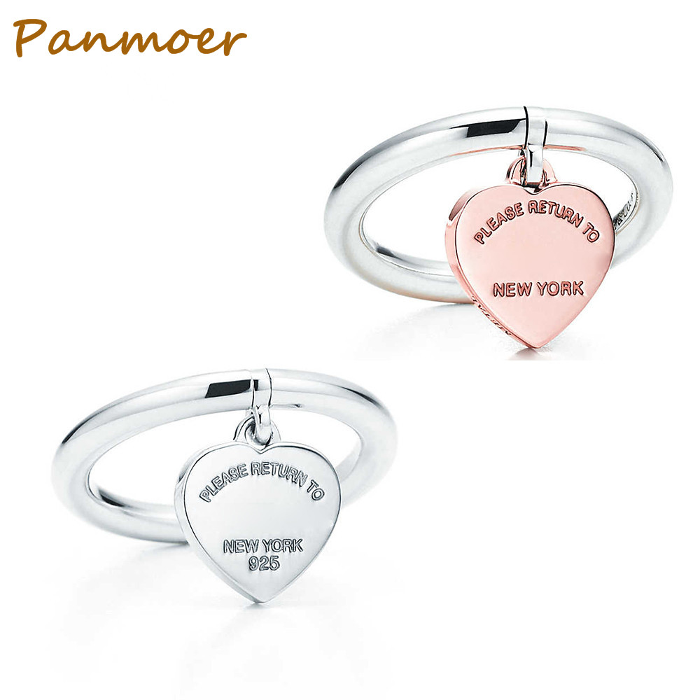 2018 Hot sell brand 100% 925 Sterling Silver New Heart Shaped Pendant T Ring for women Elegant Fashionable Lady charms jewelry