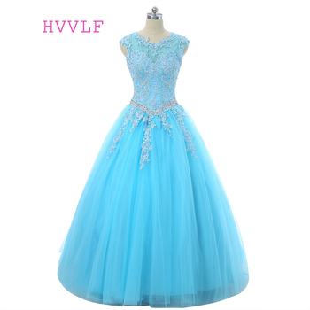 Sky Blue 2019 Quinceanera Dresses Ball Gown Cap Sleeves Floor Length Tulle Beaded Crystals Appliques Lace Cheap Sweet 16 Dress