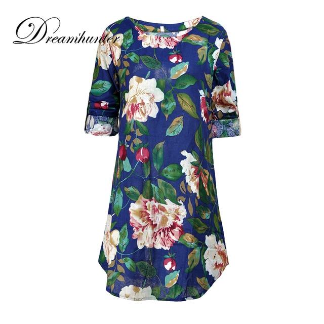 Round neck print Mini Swing Straight dress short sleeve Women Casual vestidos Summer Fashion Floral Loose T-Shirt Dresses S-4XL