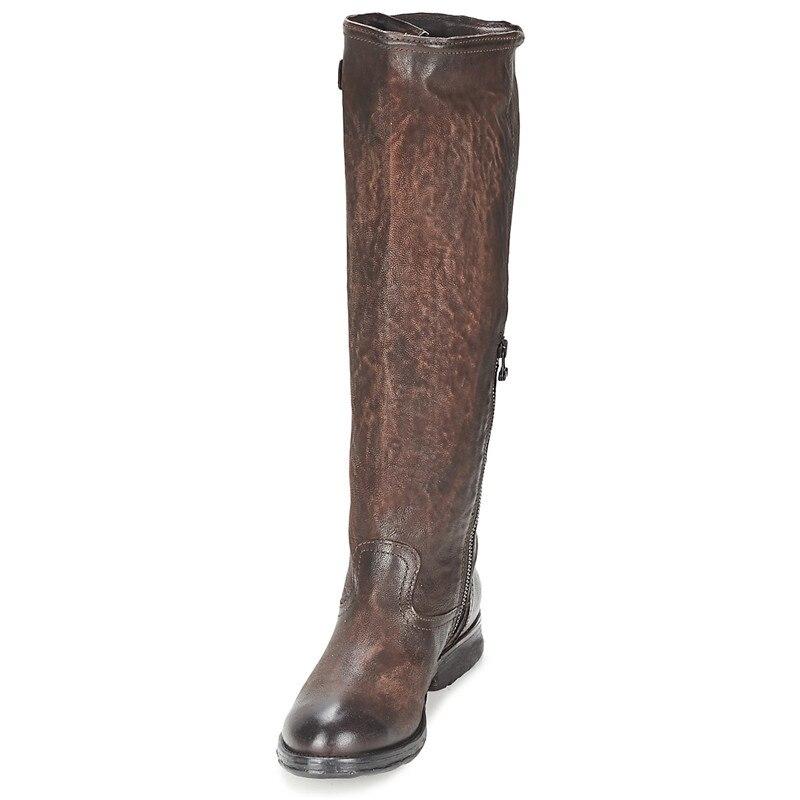 Prova Perfetto invierno mujer 2019 moda hasta la rodilla botas largas de cuero tacones gruesos pies cuadrados botas neutros Retro Caballero zapatos-in Botas por la rodilla from zapatos    2