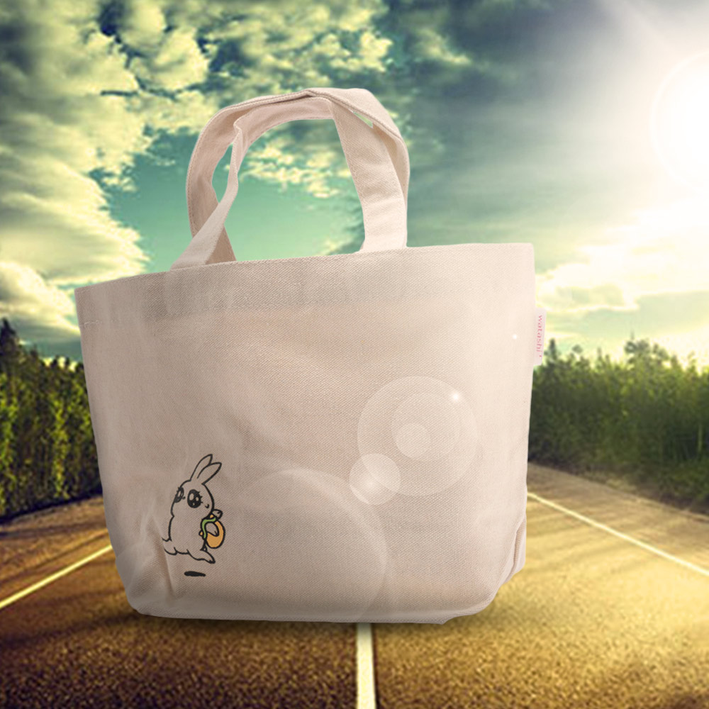 1PC Home Creative Cartoon Rabbit Design Reusable Grocery Shopping Bag Zipper Closure Folding Tote Bag Shoulder Bag