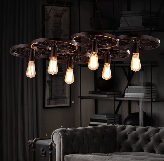 Loft Style Industrial Windmill Wheel Droplight Edison Vintage Pendant Light Fixtures For Dining Room Bar Antique Hanging Lamp loft style creative cement droplight edison industrial vintage pendant light fixtures for dining room hanging lamp lighting