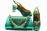 African aso ebi wedding party green italian shoes and bag matching set low heel 2.95 inches green shoes size 38 to 43 SB8338 2