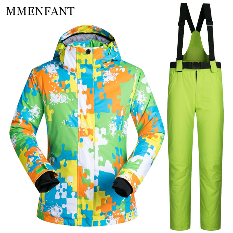 цена на Family matching clothes Couple Winter ski Suit Women Sets Windproof Breathable Waterproof man Snow Jacket+Pants Warm Clothes Set