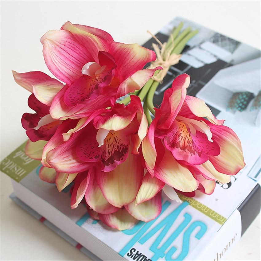 Real Touch cymbidium 6 ყვავილის თავი / - დღესასწაულები და წვეულება - ფოტო 5