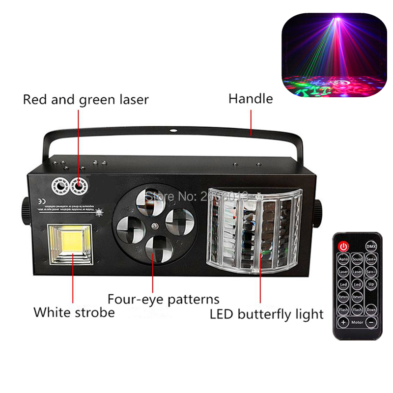 With Remote Control 4in1 Effect Stage Lighting Red Green Laser 4X3W LED Patterns Light 6x3W LED
