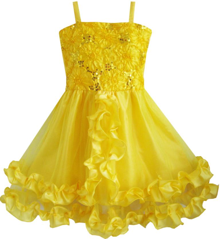 Flower girl dress yellow shinning sequins wedding party for Yellow dresses for weddings