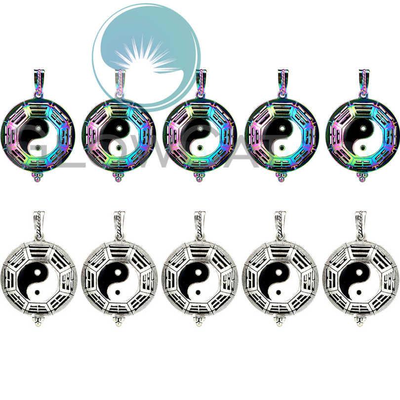10X Радужный/Винтажный медальон серебряного цвета клетка Yin Yang арома диффузор с