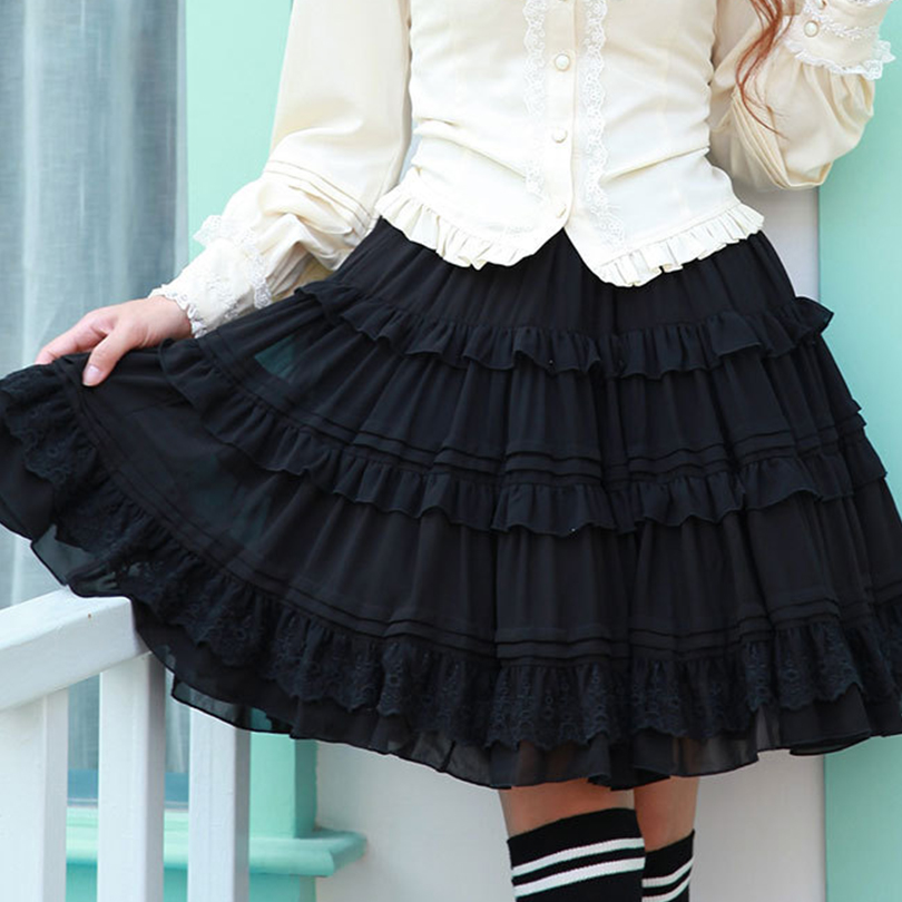 knee length skirts chiffon lace ruffle skirts