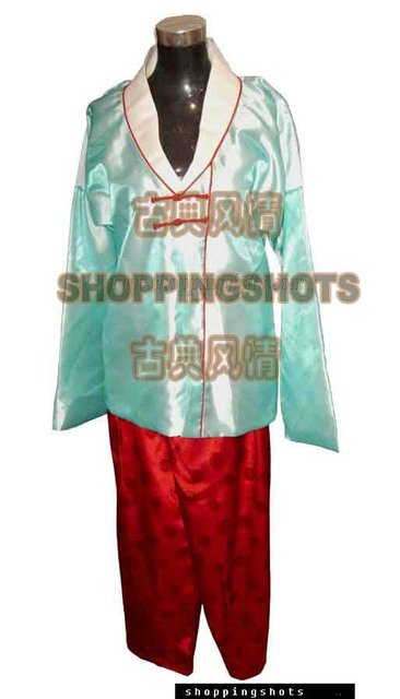 Korean wedding clothing dress dancing hanbok 5B1722 blue free shipping