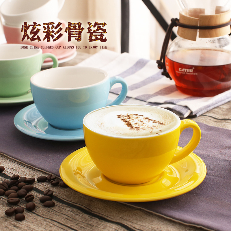 200ml Macaron Wide Mouth Cappuccino Coffee Cup With Saucer European Thick Colored Glaze Ceramic Espresso Coffee Cup Sets