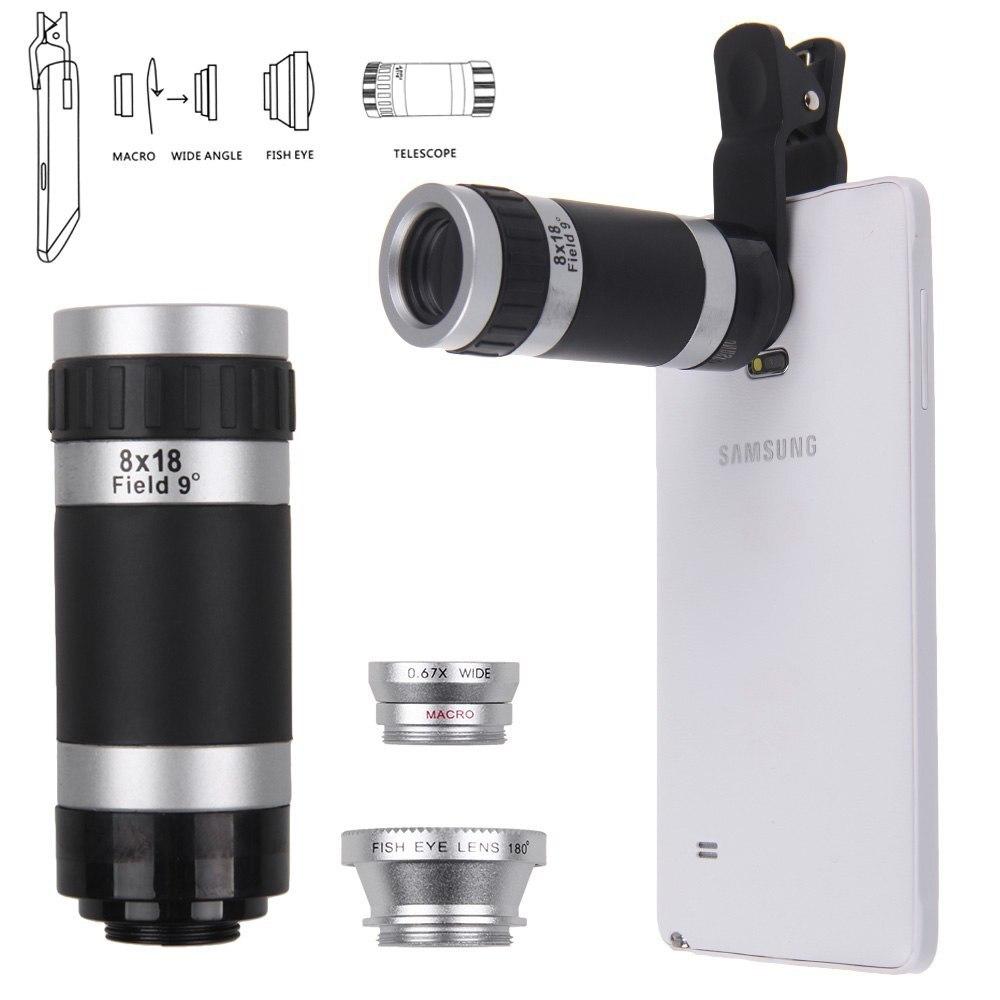 Цена за Качество 4in1 рыбий глаз + Широкий угол Макро + 8X Телеобъектив Камера для сотового телефона/Tablet объектив 1 -восток
