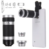 Quality 4in1 Fish Eye Wide Angle Macro 8x Telephoto Lens Camera For Cell Phone Tablet Lens