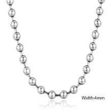 50 centímetros 925 Sterling Silver Rodada Bead Cadeia Colar Mulheres Homens Jóias collier collares off white ketting kolye 4mm