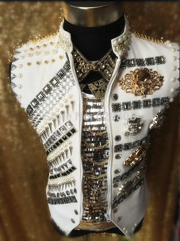 New arrival Male Luxury Rvets Rhinestone beads singer dancer costume Dj singer vest jacket