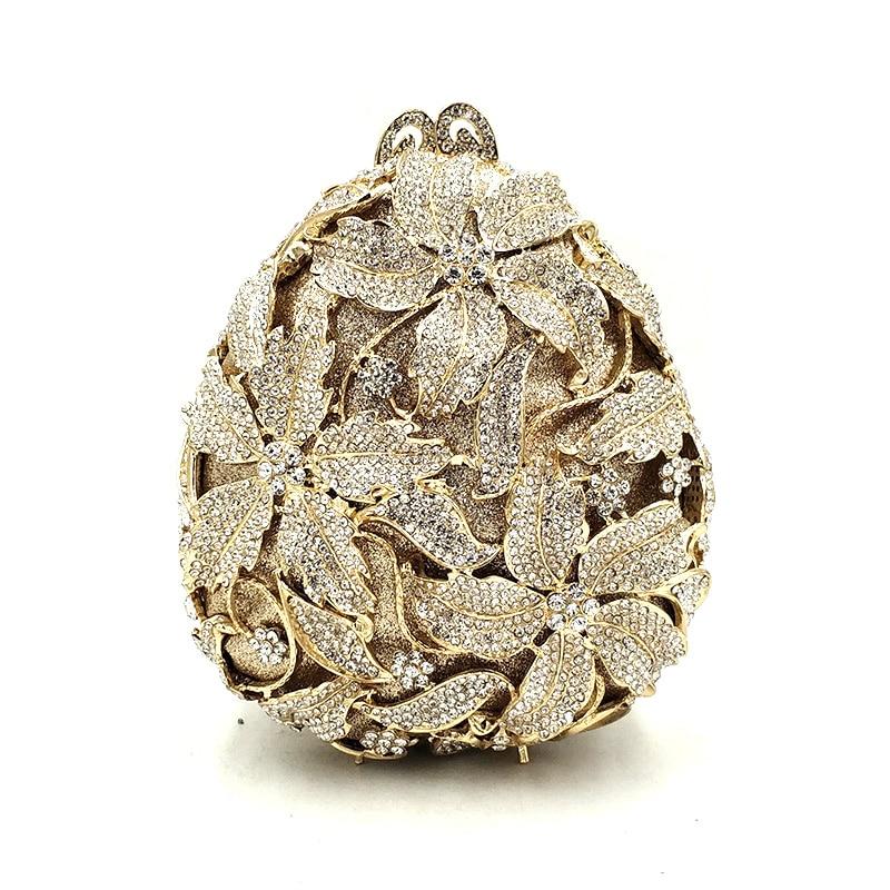Monederos de fiesta de boda de novia para mujer, bolso con forma de huevo para fiesta de noche, embragues de flores de lujo y diamantes, elegantes monederos de cristal-in Bolso de noche from Maletas y bolsas    1