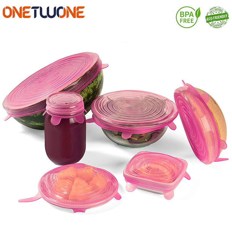 Silicone Stretch Lids Reusable Airtight Food Wrap Covers Keeping Fresh Seal Bowl Stretchy Wrap Cover Kitchen Cookware