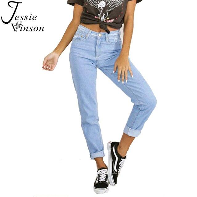 1d3fe5851ec Jessie Vinson Fashion Scratched Straight Ripped High Waist Jeans Plus Size  Light Blue Denim Pants Loose